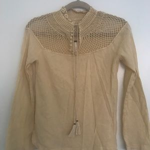 Free people yellow 70's style top
